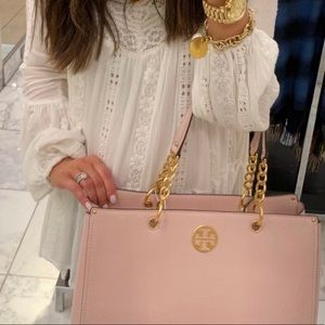 Tory Burch Everly Leather Tote Shell Pink